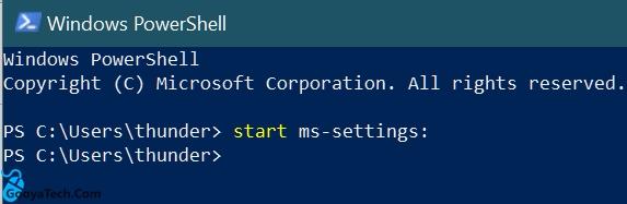 استفاده از پاور شل برای باز کردن تنظیمات ویندوز 10
