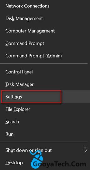 از منوی WinX تنظیمات ویندوز 10 را باز کنید