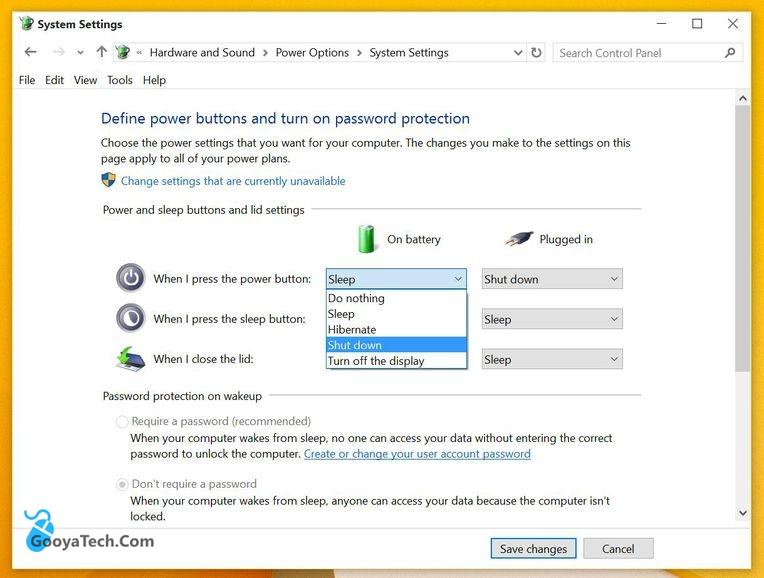 تنظیم دکمه پاور برای خاموش شدن ویندوز 10