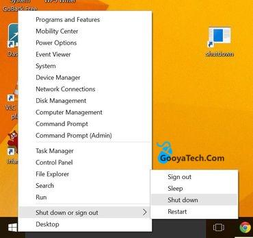 خاموش کردن ویندوز 10 از طریق منوی WinX