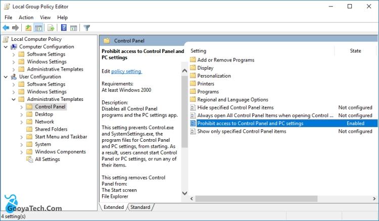 غیر فعال کردن تنظیمات ویندوز