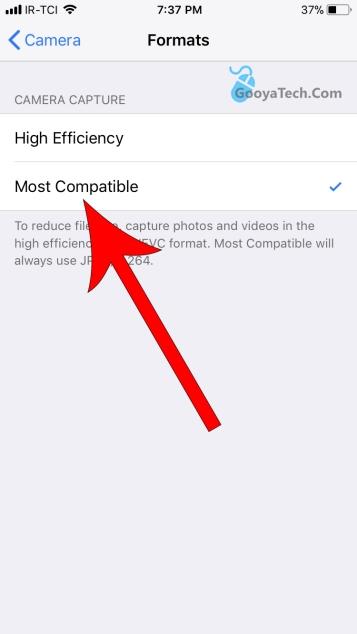 تغییر فرمت ذخیره شدن عکس ها در آیفون
