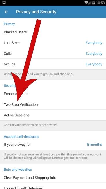 گزینه Two-Step Verification برای تایید دو مرحله ای تلگرام