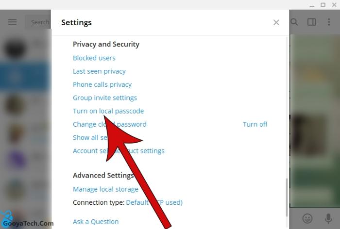 قرار دادن رمز روی تلگرام ویندوز