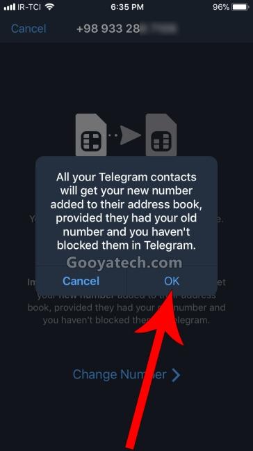 عوض کردن شماره تلگرام