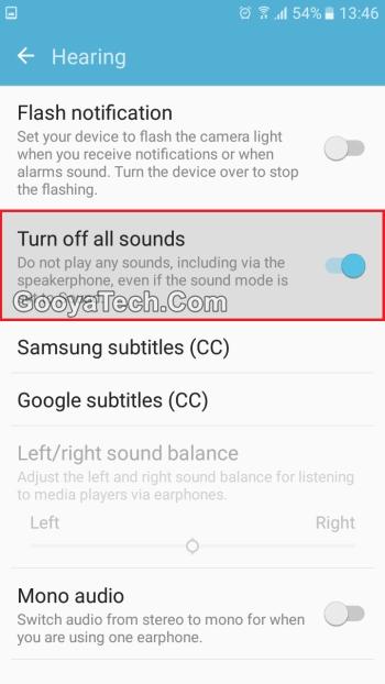 فعال کردن گزینه Turn off all sounds