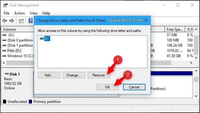 مخفی کردن یک درایو در ویندوز 10