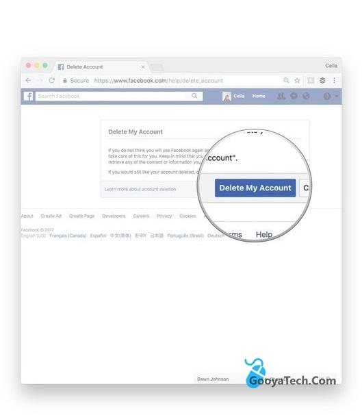 حذف اکانت دائمی facebook