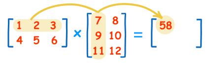 ضرب سطر اول در ستون اول ماتریس