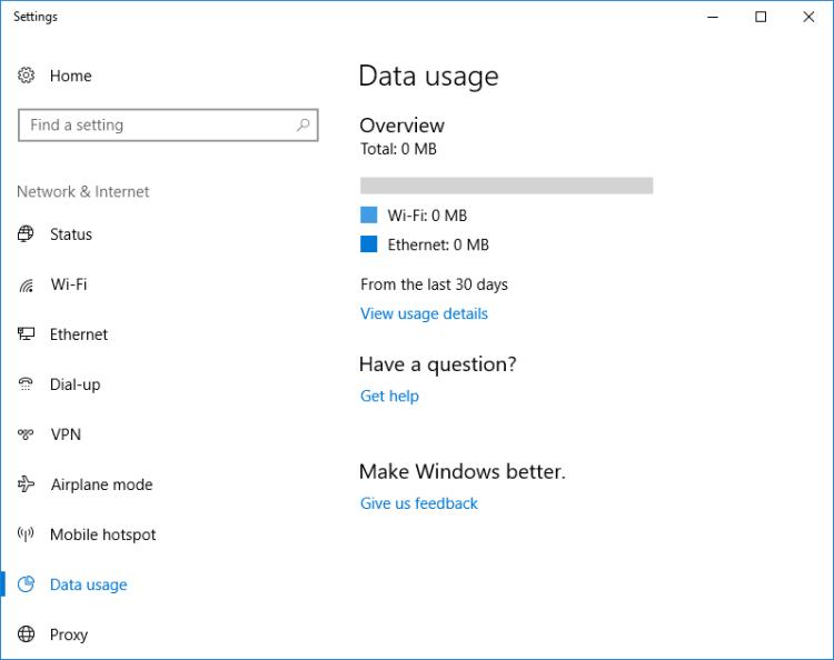 ریست مجدد آمار بخش Data usage در ویندوز 10
