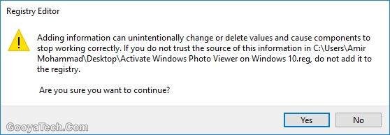 فعال سازی نرم افزار Windows Photo Viewer در ویندوز 10 با رجیستری