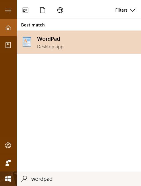 باز کردن Wordpad با استفاده از بخش جستجو