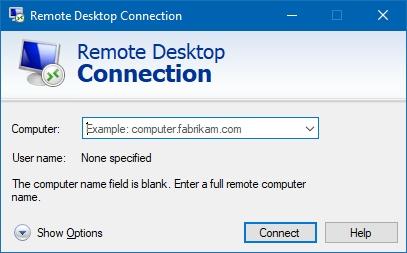 """استفاده از دستور """"mstsc"""" برای اجرای Remote Desktop Connection"""